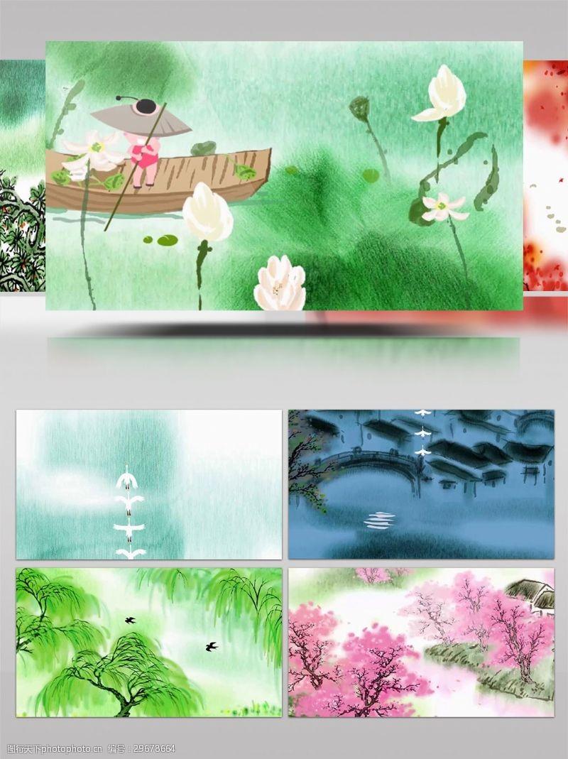 led视频卡通中国风读唐诗配乐LED视频