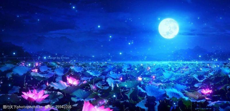 藍色七夕海報背景夢幻荷葉荷花月亮背景