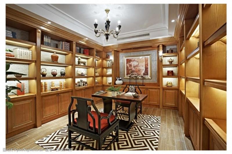寬敞明麗中式書房設計效果圖