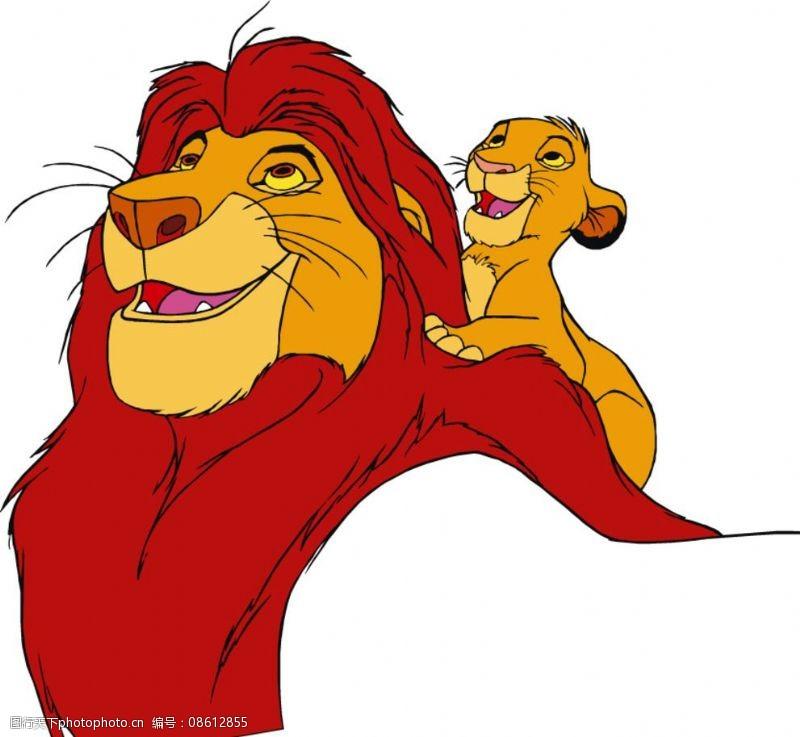 卡通雄狮与可爱小狮子图片