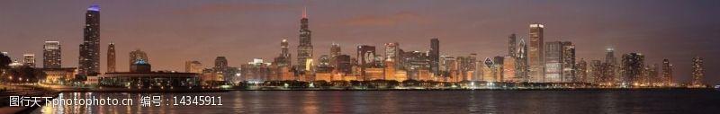 芝加哥夜景全景图片