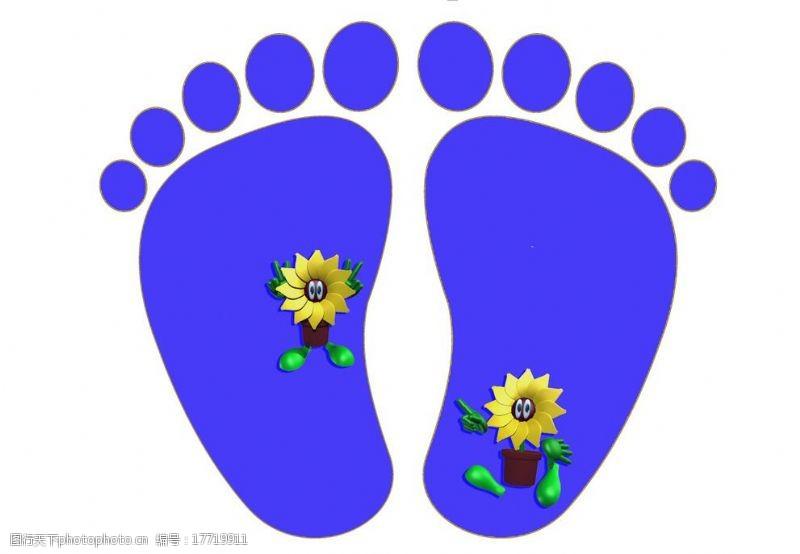 蓝色脚印脚印图片