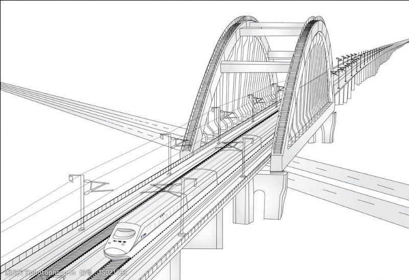 高铁桥高铁失量图片