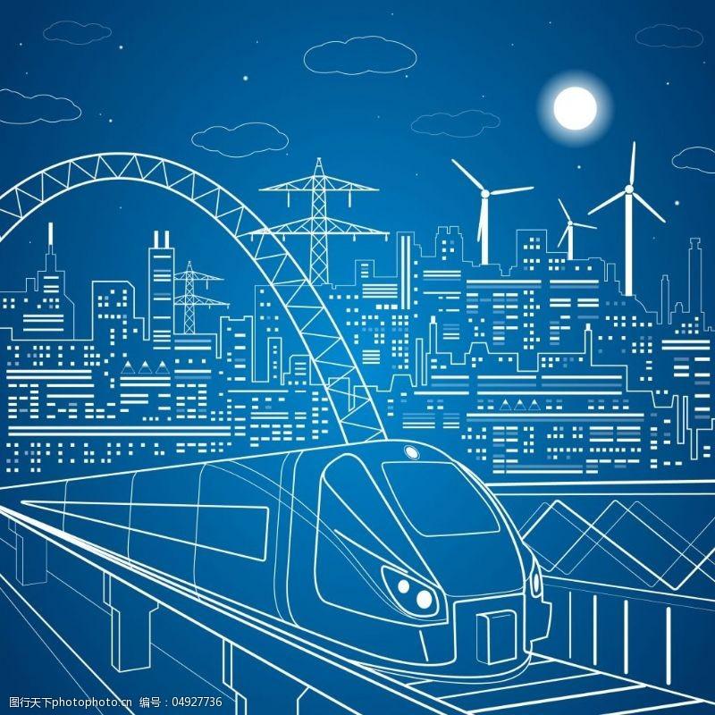 高铁桥城市高铁素描插画