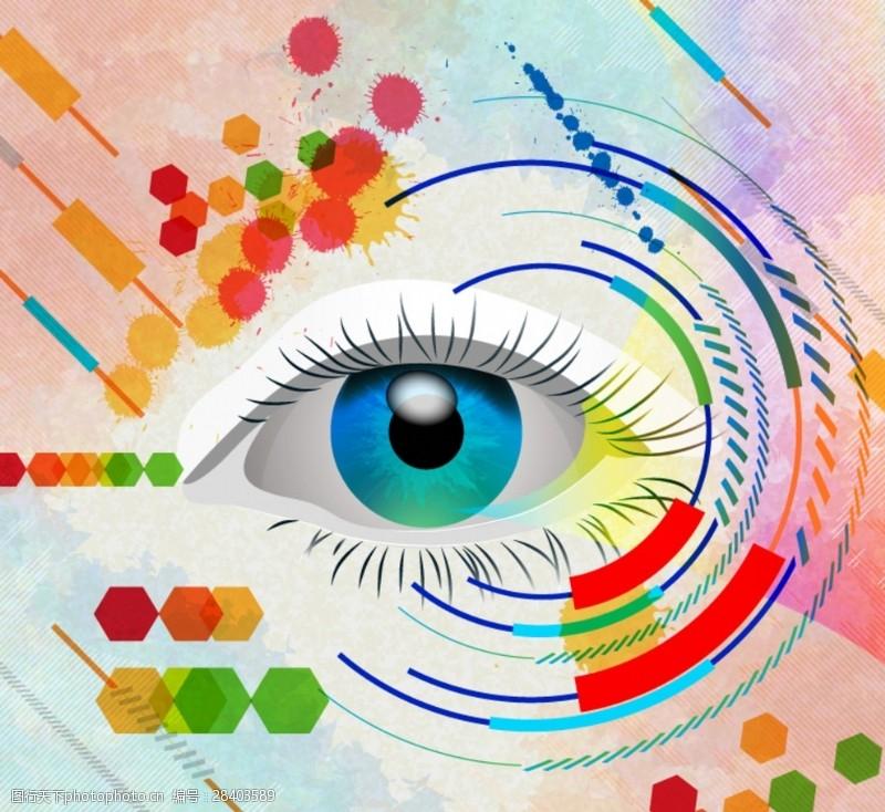 眼部特写时尚彩绘眼睛背景矢量素材