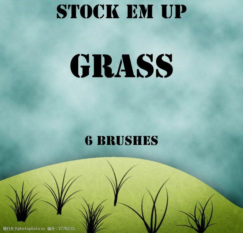 grasses高清晰绿色小草笔刷