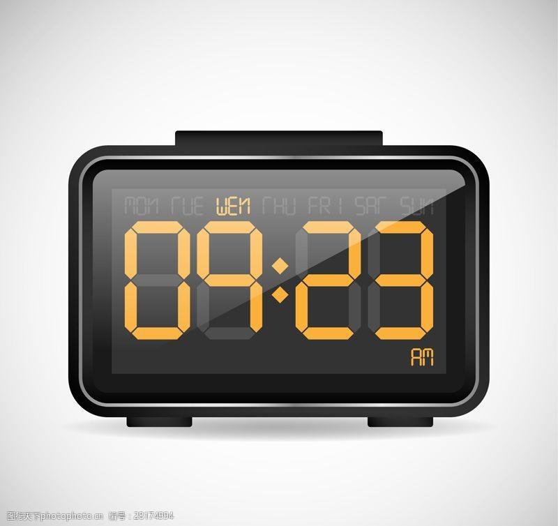 黑色电子钟设计矢量素材