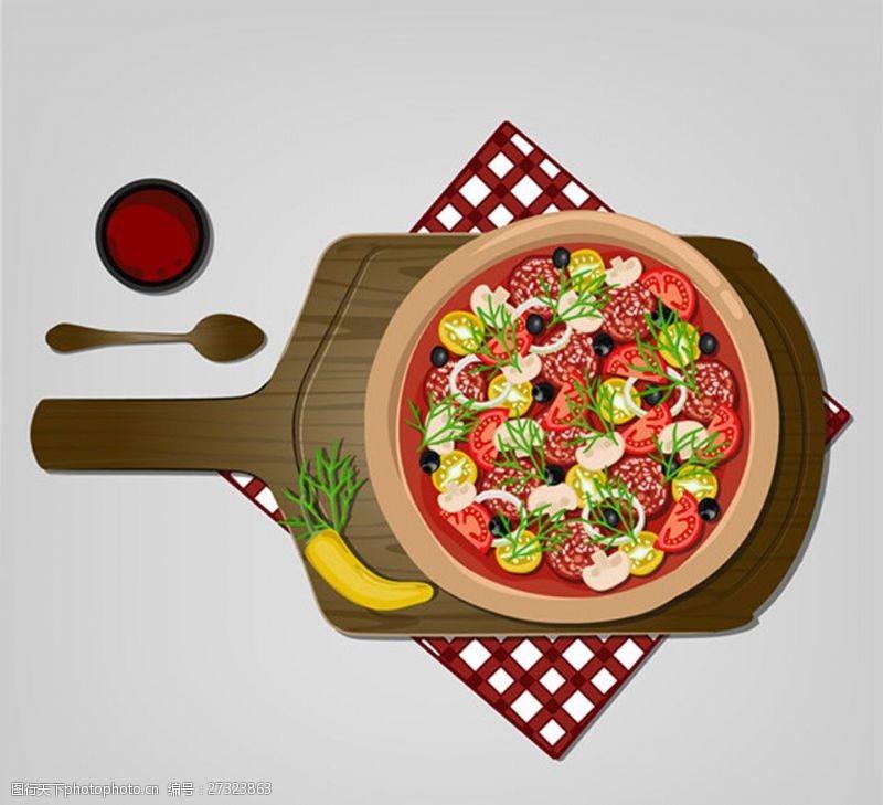 香蘑菇手绘西红柿沙拉