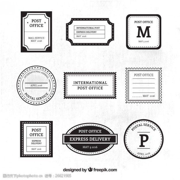 复古邮票装饰性后的黑白邮票