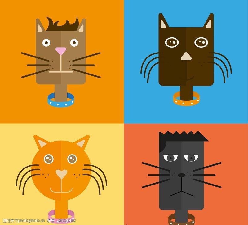 4款创意猫咪头像矢量素材