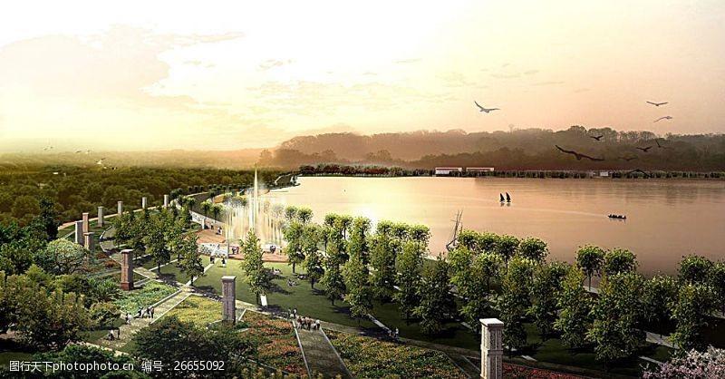 3d设计源文件公园景观效果图