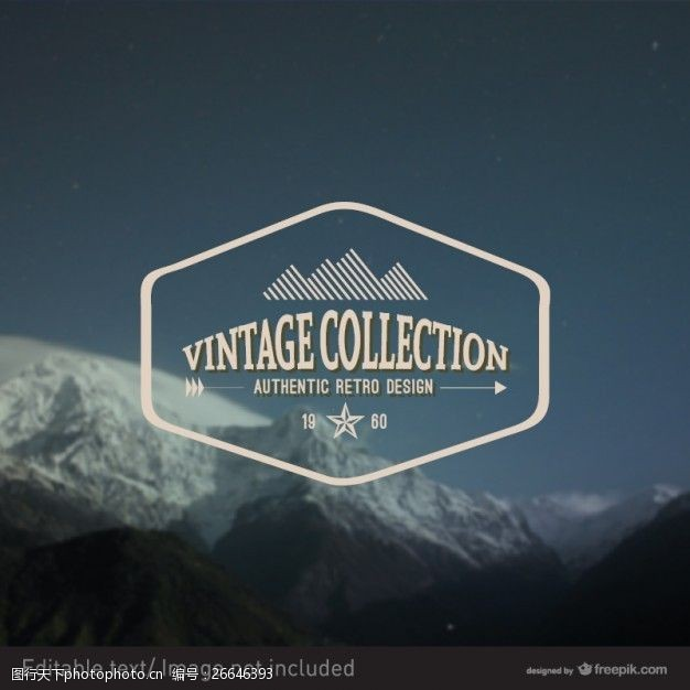 复古邮票冰雪覆盖的山脉