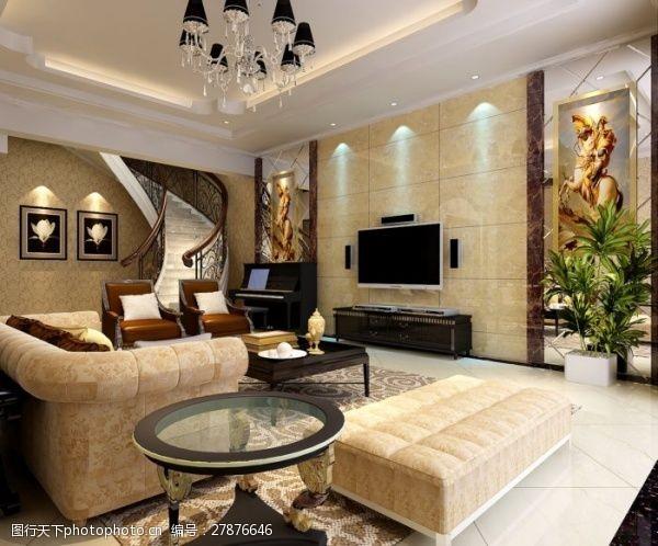max格式家装别墅客厅效果图
