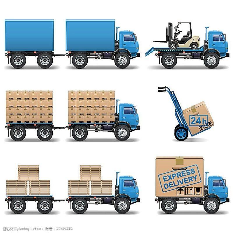 货车模板搬运货物的货车