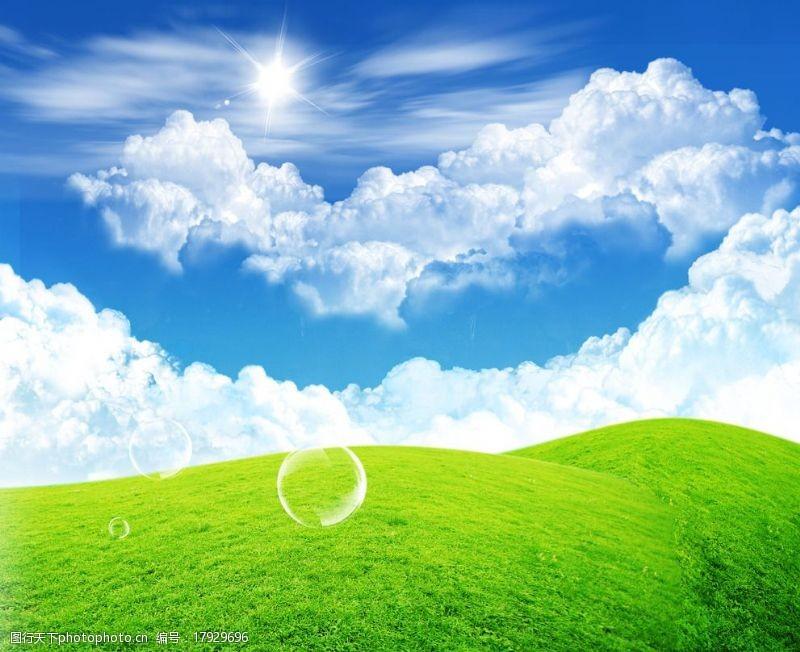 草地蓝天花朵蓝天草地白云图片
