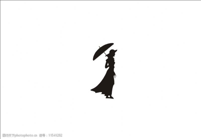 矢量打伞的女人图片