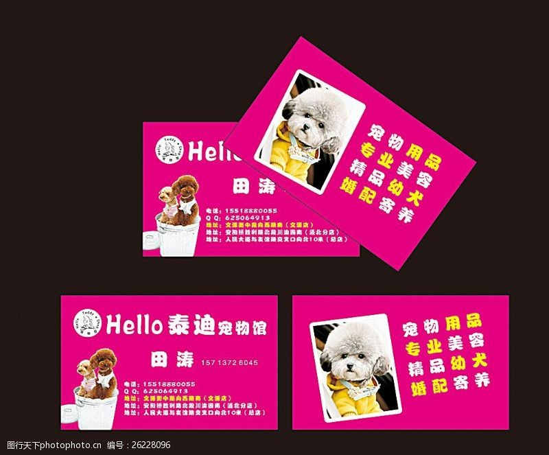 宠物卡片宠物店名片图片