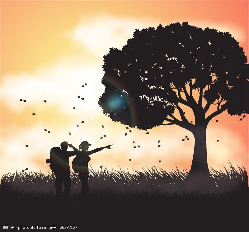 自然探险大树下的情侣