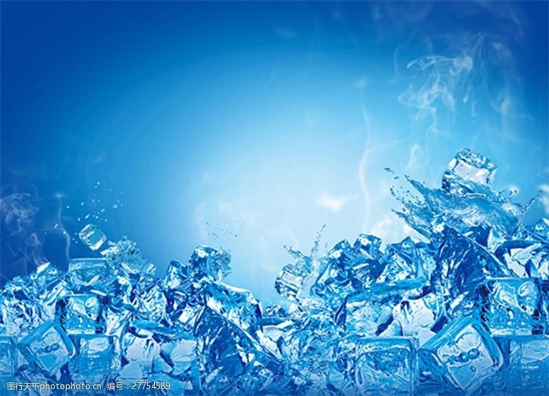 蓝色冰块背景psd分层素材