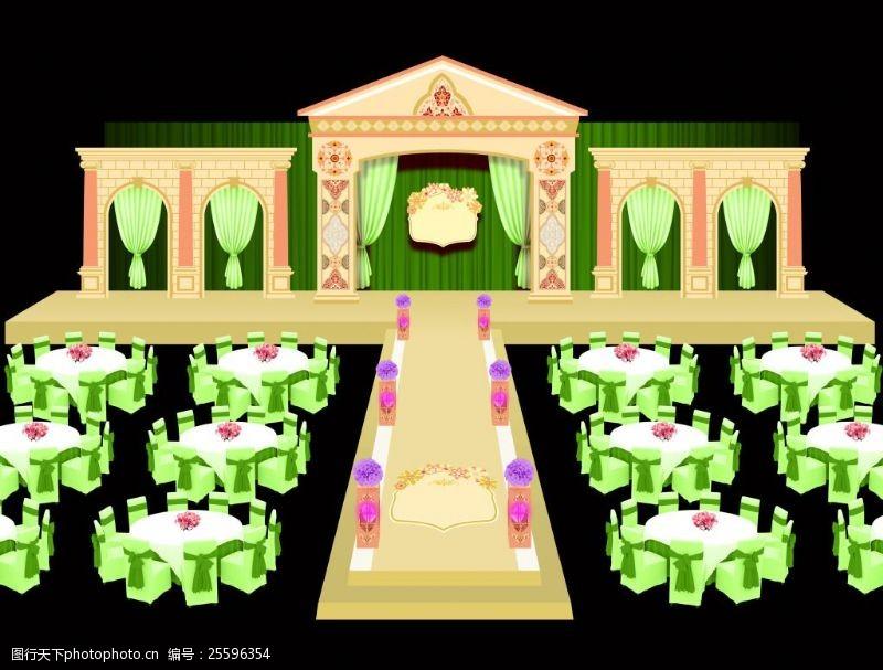 欧式舞台欧式婚庆舞台设计psd下载