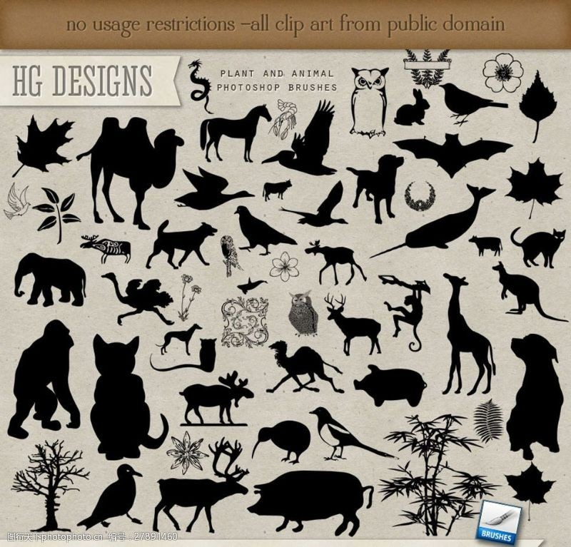 plants各种各样的动物剪影笔刷