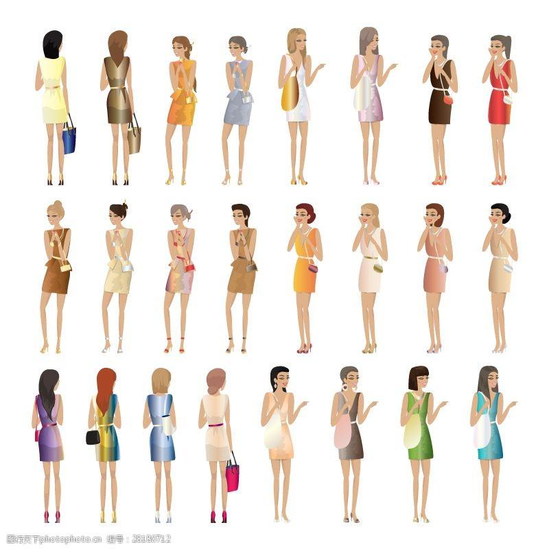 女人矢量图24款时尚女性设计矢量素材