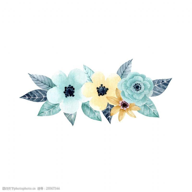 手绘三朵花花草装饰素材