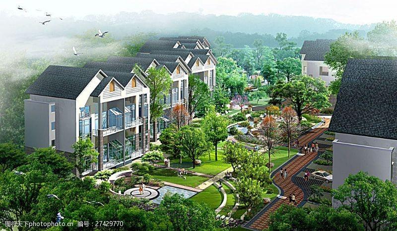 3d设计源文件小区园林景观鸟瞰图