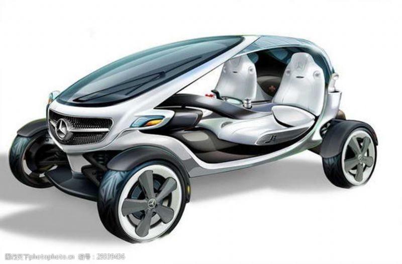 奢华的奔驰高尔夫球车设计流线汽车JPG