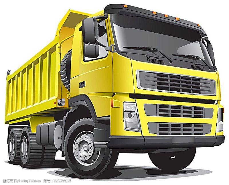 货车模板矢量黄色货车图片