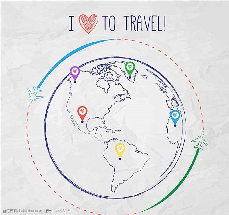 彩绘地球环球旅行插画矢量图图片
