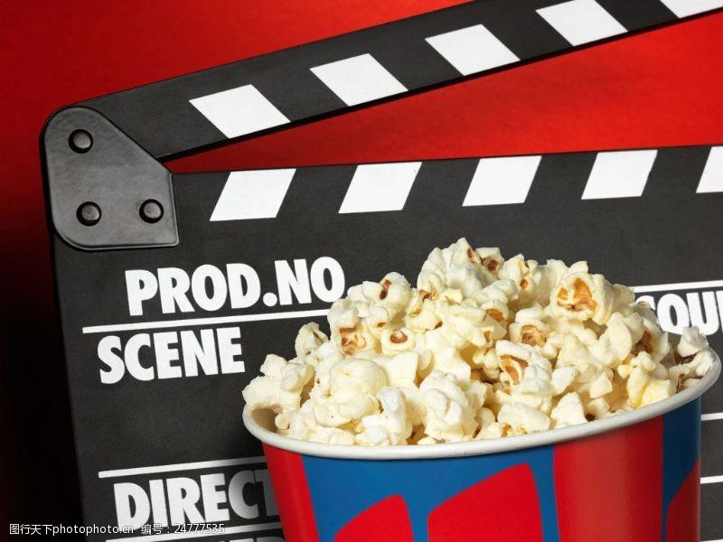 电影院广告电影胶卷与爆米花创意高清图片