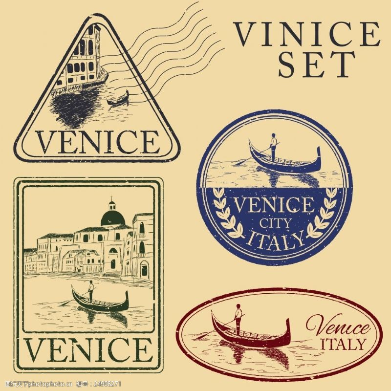 复古邮戳威尼斯旅行图章