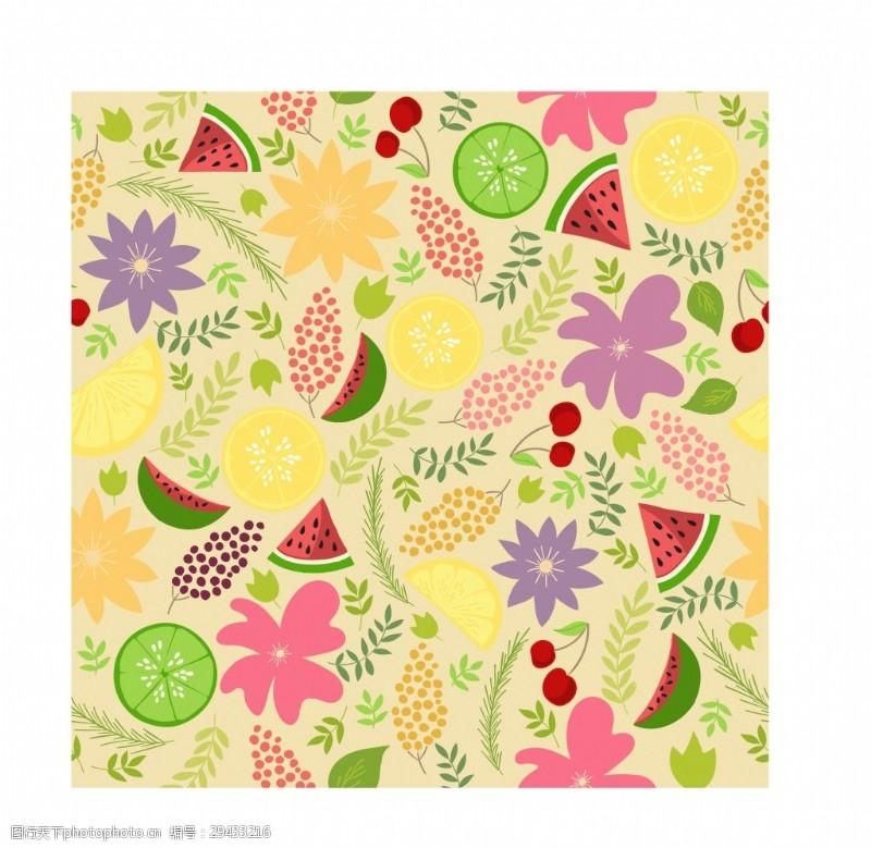 柠檬时尚西瓜柠檬矢量填充背景