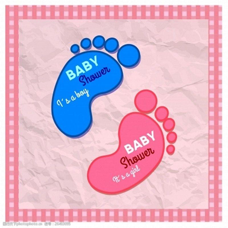 蓝色脚印婴儿的小脚印