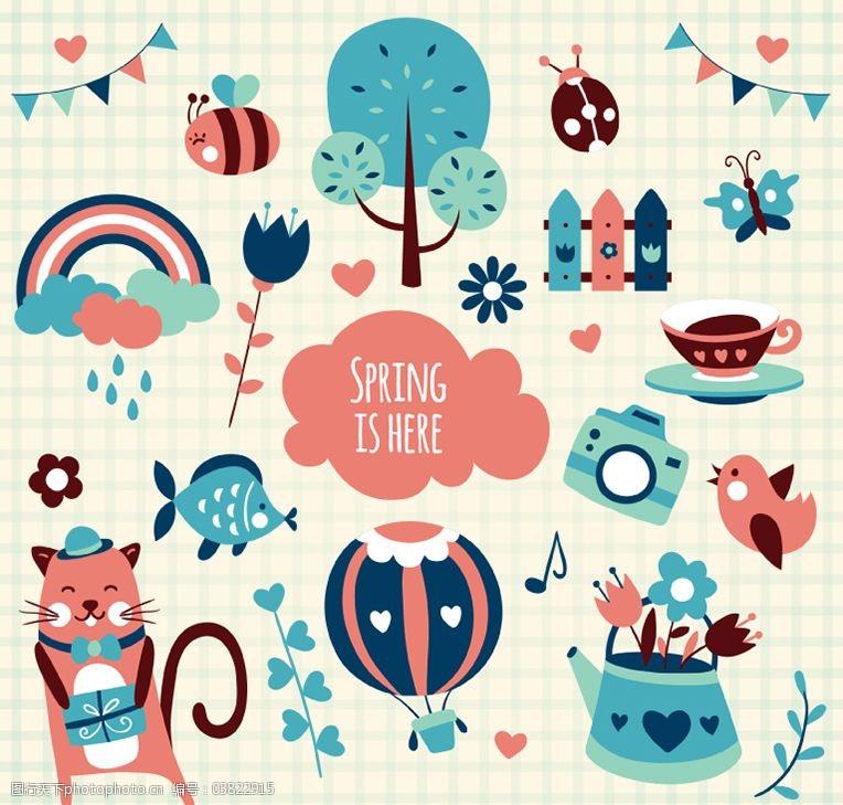三角拉旗卡通春季元素