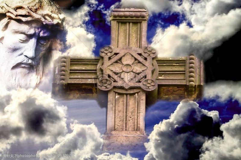 耶稣,云,基督教,交叉,红十字标志,圣,信仰,克里斯蒂,基督
