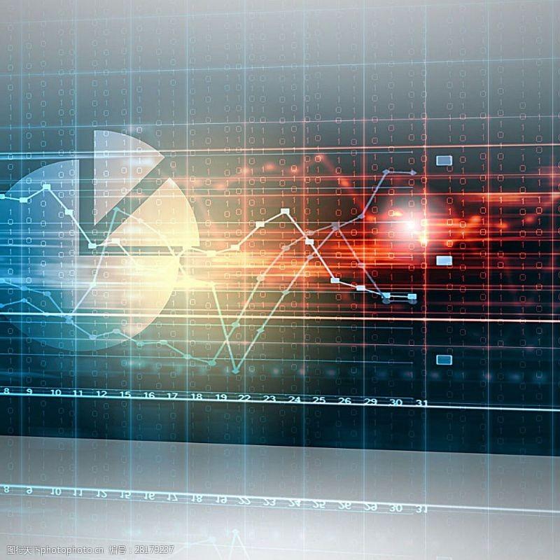 科技通讯网络饼形图与科技背景