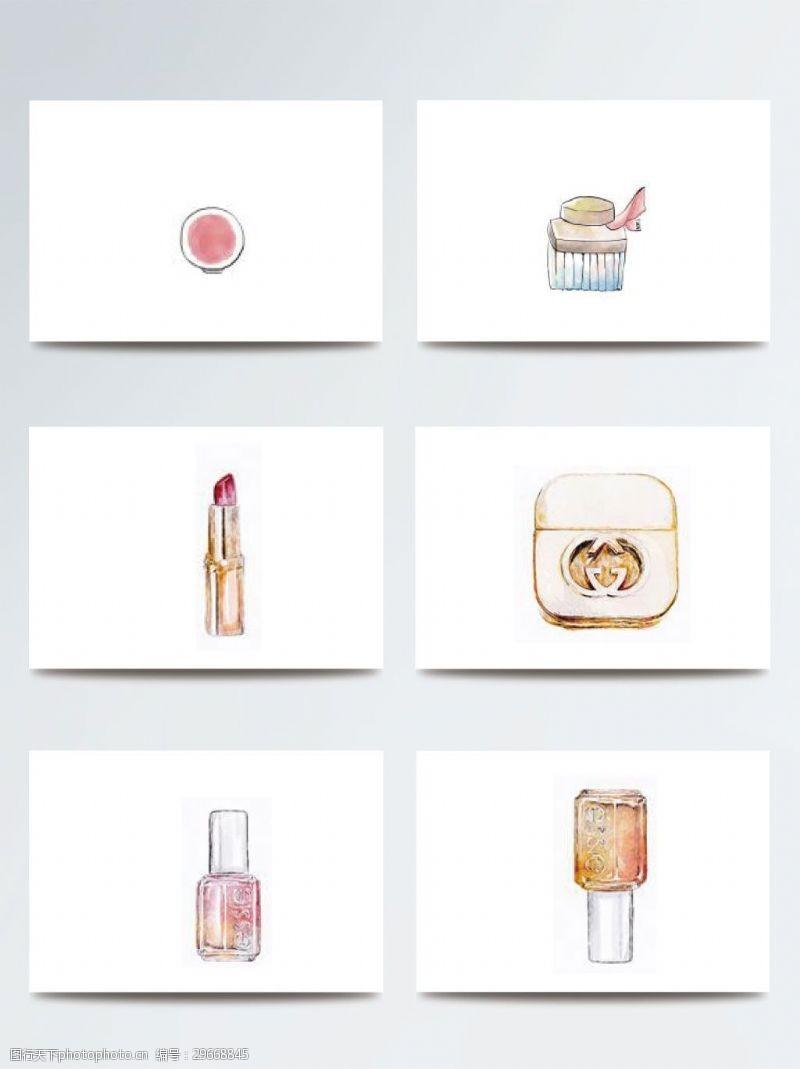 彩妆彩色化妆品插画素材