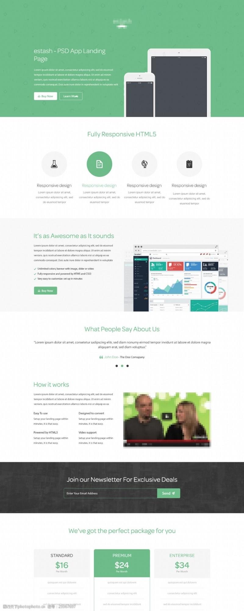 网页设计元素简约国外网站首页模板PSD分层素材