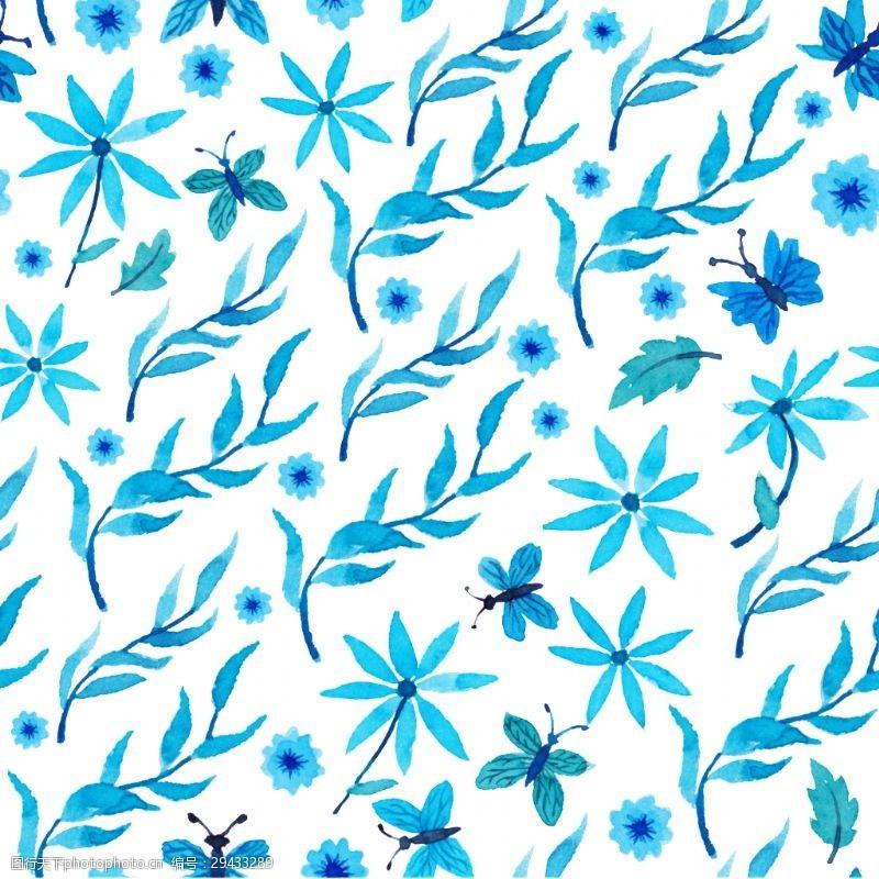 简约手绘蓝色花草装饰素材