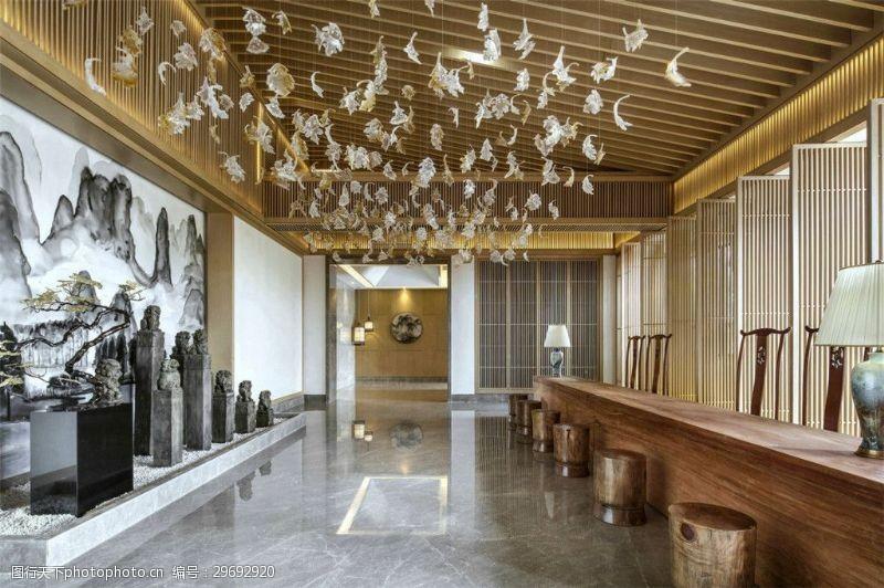 室内场景模型豪华水晶吊酒店灯道模型