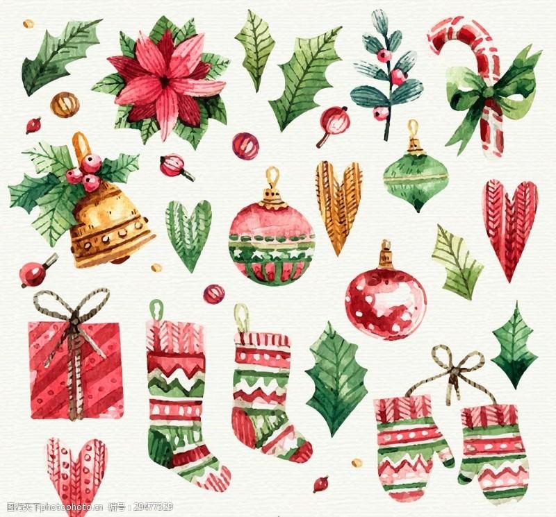 圣诞节饰物22款水彩绘圣诞装饰物矢量图