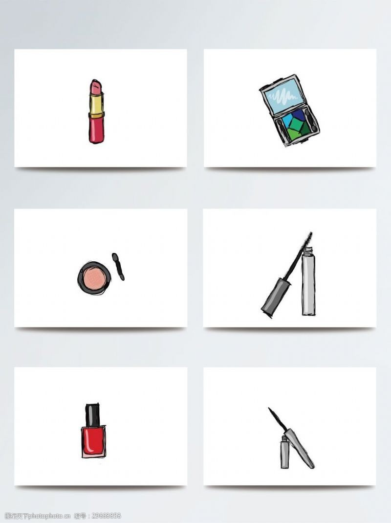 彩妆彩色手绘化妆品素材