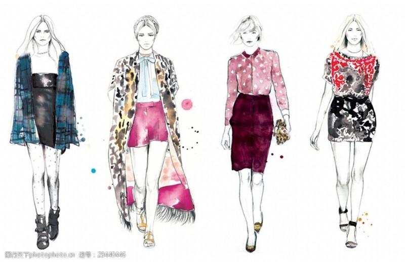 手绘服装设计素材图