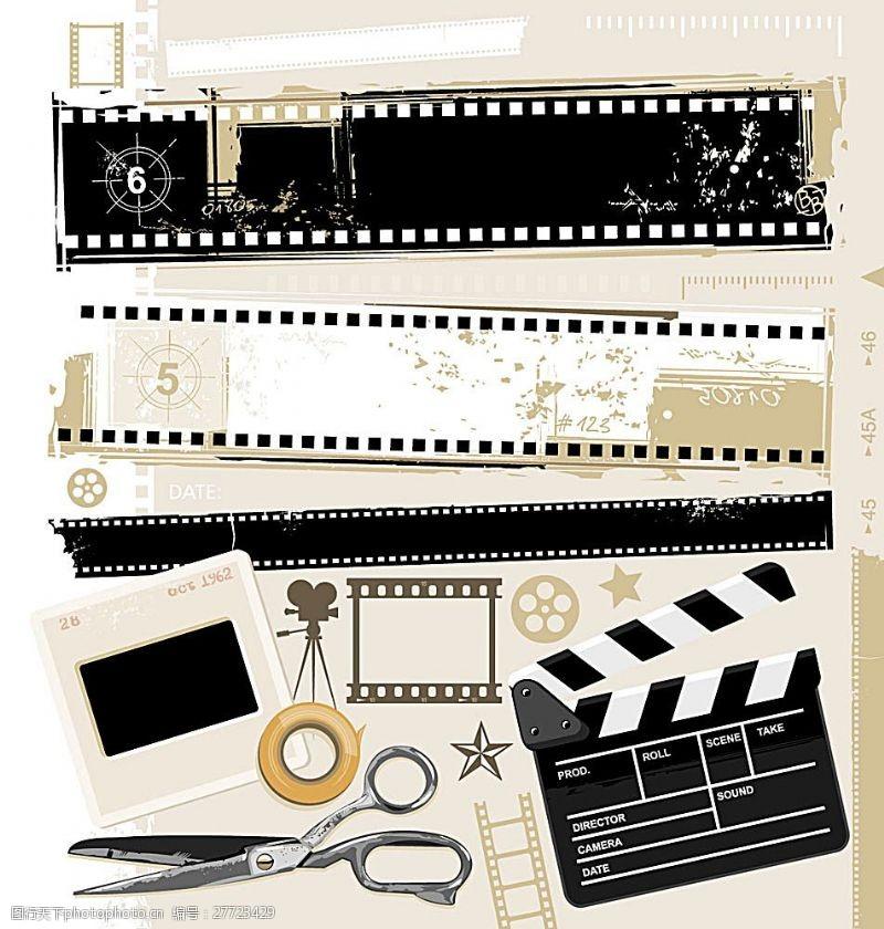 电影元素矢量复古电影风格