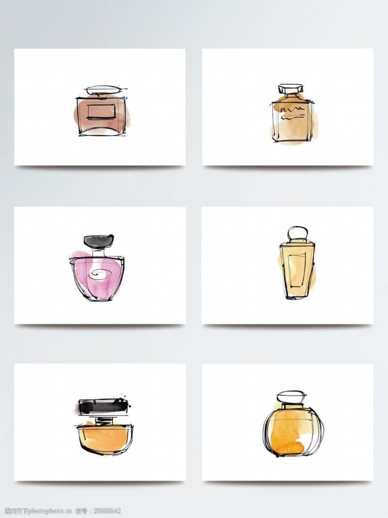 彩妆水彩化妆品插画素材