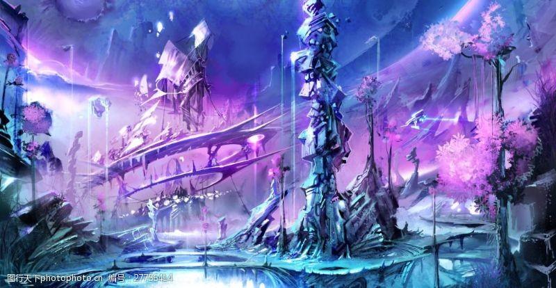 精美科技风格战争题材的游戏背景原画