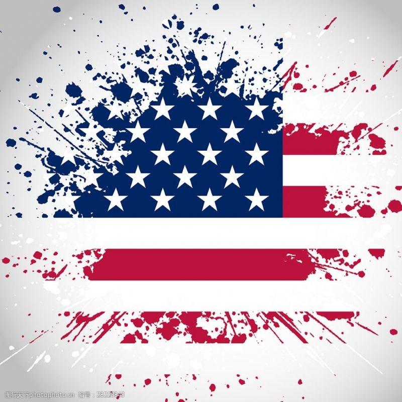 喷溅美国国旗矢量素材