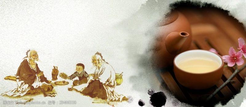 古典茶道茶具海报背景